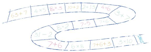 Ein Mathe-Spiel auf weißem Hintergrund vektor