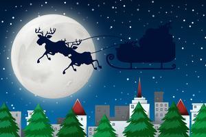 Eine Silhouette Santa am Himmel
