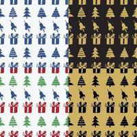 Set nahtlose Muster Glocken, Kisten und Tannen vektor