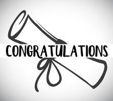 Kortmall med gratulationer ord och examen vektor
