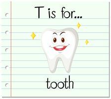 Der Flashcard-Buchstabe T steht für Zahn vektor