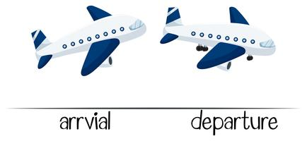 Gegenüberliegende Wörter für Ankunft und Abreise