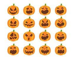 gelber Kürbisvektor zum Schnitzen von gruseligen Geistergesichtern für Halloween. vektor