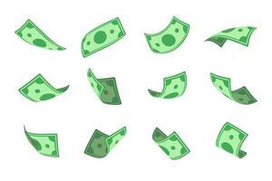 jack port pengar. dollarsedlar som faller ovanifrån. vektor