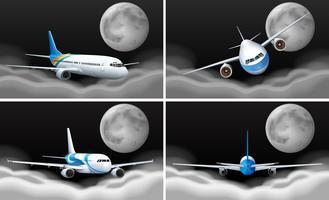 Fyra himmel scener med flygplan flygande