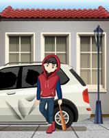 Problem pojke träffade bilfönstret