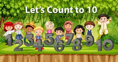 Multikulturella barn och nummer i djungelbakgrund