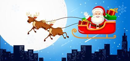 Santa i en släde med renar vektor