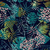 Trendigt sömlöst exotiskt mönster tropiska växter, djurtryck och handritade texturer.