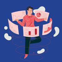 Der Typ sucht nach Informationen im Web. Online-Dateisuche vektor