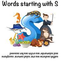 Engelska affischen för ord som börjar med s vektor