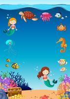 fantastiska undervattens marina livet vektor