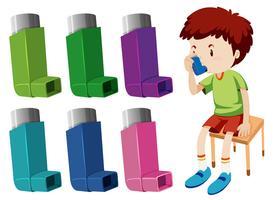 Pojke med astma med olika astmainhalatorer vektor
