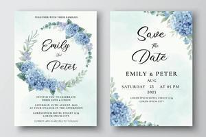 Hochzeitseinladungsschablone mit blauen Hortensienblumen vektor