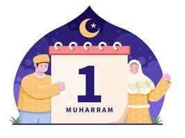 Muslime feiern islamisches Neujahr oder Hijr-Jahr 1. Muharram vektor
