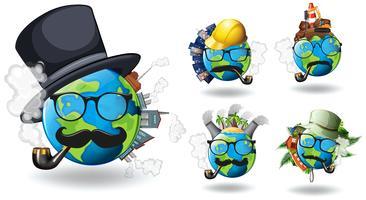 Jorden med olika konstruktioner på den