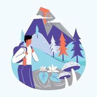 Junge Sommerurlaub Reisen Illustration Konzept Vektor