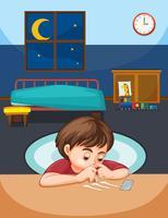 Ein Junge schnaubt Kokain im Schlafzimmer vektor