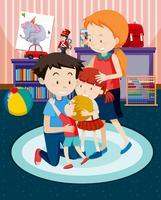 En lycklig familj hemma
