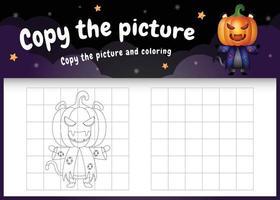 Kopieren Sie das Bild Kinderspiel und die Malvorlage mit einer süßen schwarzen Katze vektor