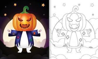 Malbuch mit einem süßen Eisbären mit Kostüm Vogelscheuche Halloween vektor