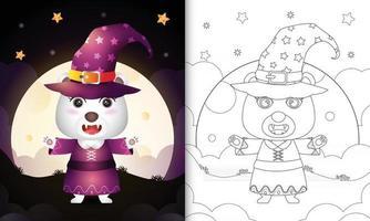 Malbuch mit einem süßen Eisbären mit Kostüm Hexe Halloween vektor