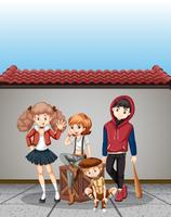 Grupp tonåringar scen