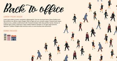 Vectior mall med människor som går till jobbet. vektor