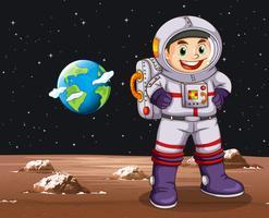 Astronaut steht auf dem Planeten