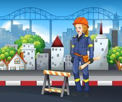 En byggnadsarbetare i staden