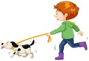 Liten pojke walking hund vektor