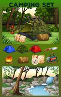 Campingutrustning och fält vektor