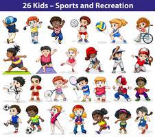 Barn engagerar sig i olika aktiviteter