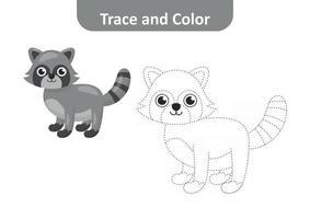 Spur und Farbe für Kinder, Waschbärvektor vektor