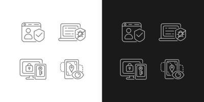 Schutz des Rechts auf Online-Privatsphäre lineare Symbole gesetzt vektor