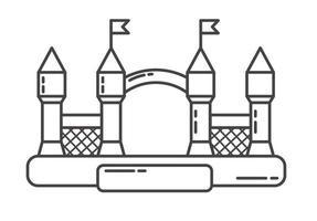 Hüpfburg-Umriss-Symbol. Hüpfendes Haus auf dem Kinderspielplatz vektor