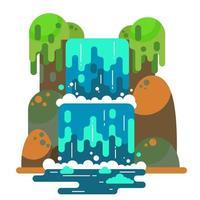 Wasserfall Landschaft. Bergfluss mit Kaskade. Vektor flach