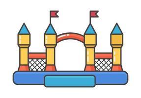 Hüpfburg aufblasbar. Turm und Ausrüstung für Kinderspielplatz. vektor