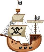 Piratenschiff im Karikaturstil lokalisiert auf weißem Hintergrund vektor
