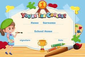 süßes Motivations-Cartoon-Zertifikat für Kinder vektor