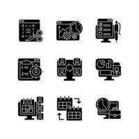 Arbeitsüberwachungstools schwarze Glyphensymbole auf weißem Raum vektor