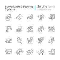 Lineare Symbole für Überwachungs- und Sicherheitssysteme gesetzt vektor