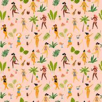 Vektor sömlöst mönster med dansande damän i baddräkter och tropiska palmblad