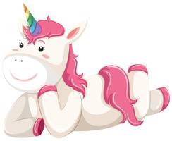 Glad rosa unicorn laying vektor