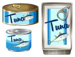 Thunfisch in drei verschiedenen Packungen vektor