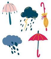 Set von Wolken und Regenschirmen. regnerisches Wetter. Gewitter, Regen, Wolken vektor