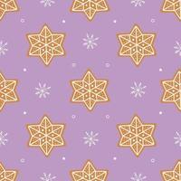 nahtloses Muster aus Lebkuchen und kleinen weißen Schneeflocken vektor