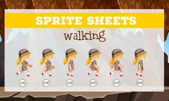 sprite sheets walking template vektor