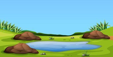 Szene mit Teich auf dem Feld vektor