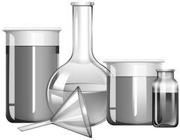 Wissenschaftsgläser in Graustufen mit flüssigen Substanzen